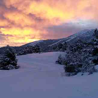 "Sunrise on the ""CHeiron""  from nordic area, Gréolières Les Neiges"
