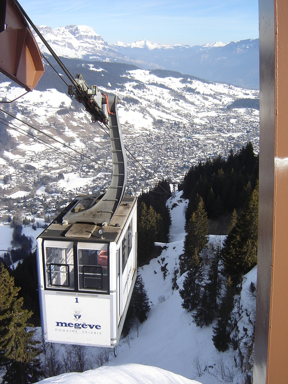 Sight on Megeve and Rochebrune cablecar