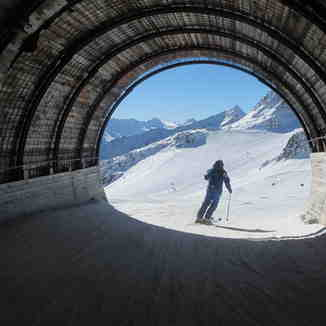 October Skiing In Solden Through Tunnel Between Glaciers, Sölden