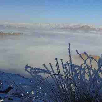 city arak  in the  fog, Mount Damavand