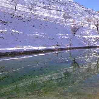 Winter scene reflecting in water, Mount Damavand