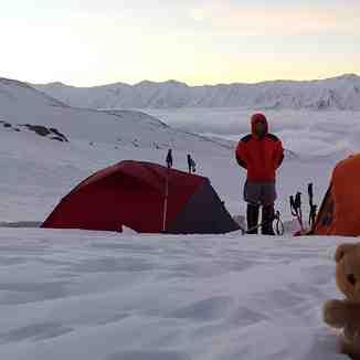 Bivouac by my friend Mr. Mehdi Ghasemi, Hamid Ahmadi and his wife on the climb to the Damavand, Mount Damavand