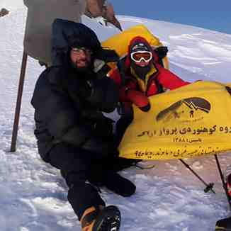 Bivouac by my friend Mr. Mehdi Ghasemi, Hamid Ahmadi and his wife on the climb to the Damavand, Mount Damavand