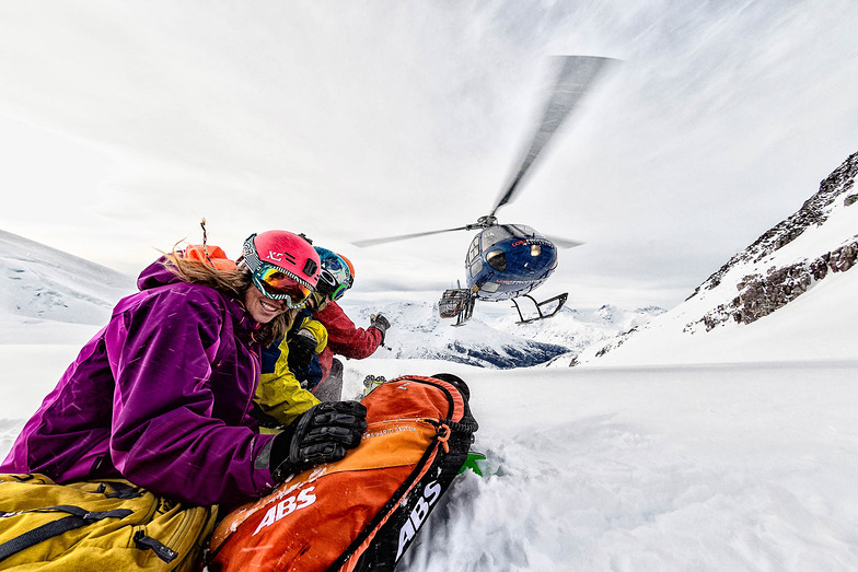 Waiting for the bird. Photo: Grant Gunderson, Last Frontier Heliskiing - Ripley Creek