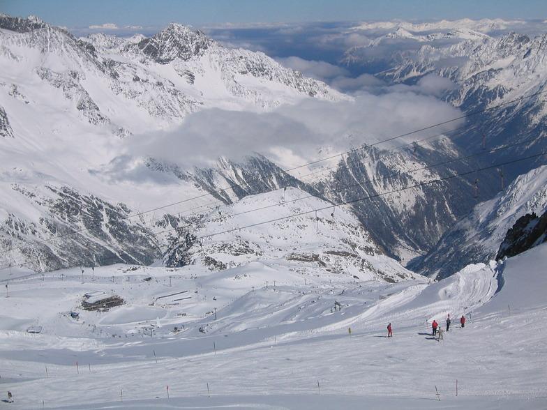 Looking down on Gamsgarten, Stubai Glacier