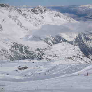 Looking down on Gamsgarten, Stubai Glacier