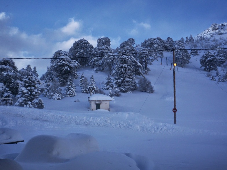 Ziria with snow, Ziria of Corinth Ski Center