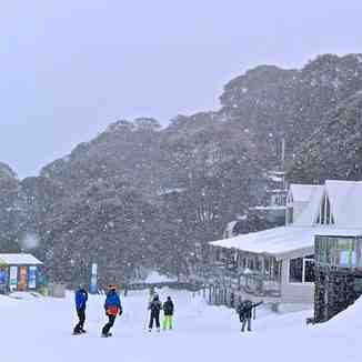 It's snowing in Falls Creek