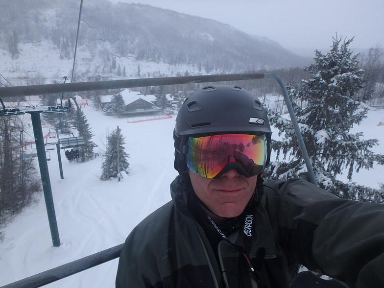 Looking back at the lodge...Nice Powder day, Canyon Ski Area