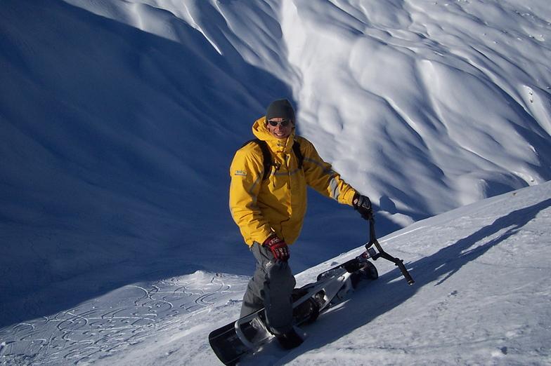 Snowscoot in Vallon de Seregnier, Pra Loup (Espace Lumière)