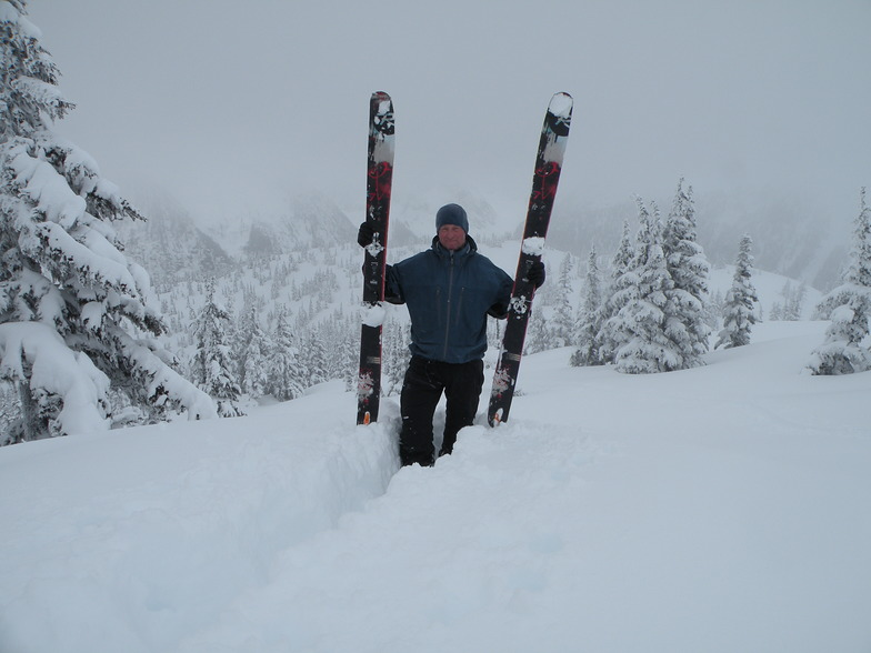 """24"""" of dry POW over night! April after mountain operations were done...no one on the entire mou, Shames Mountain"""