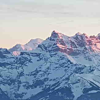 Dents du Midi and Mont Blanc, Leysin