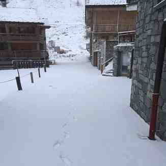 Snowy walk to work in Val d'Isere today
