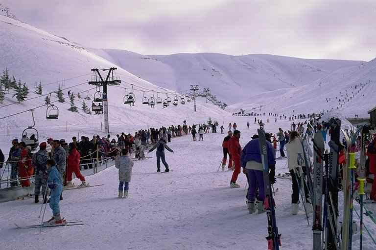 Busy day in Faraya, Lebanon, Mzaar Ski Resort