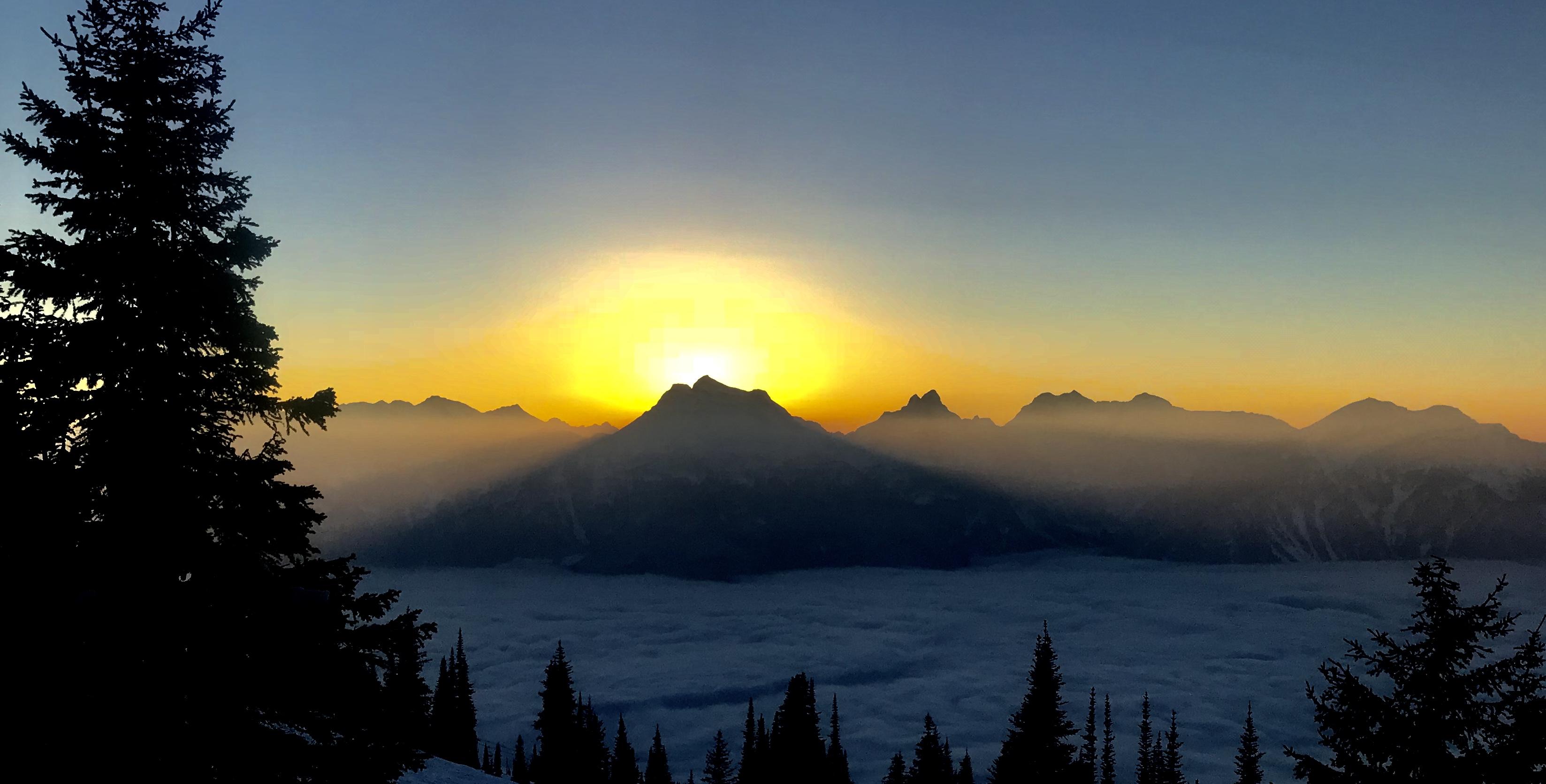 Sunset from vertigo ridge at revelstoke, Revelstoke Mountain Resort