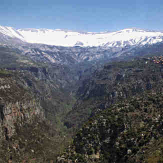Qadisha valley in spring, Lebanon, Mzaar Ski Resort