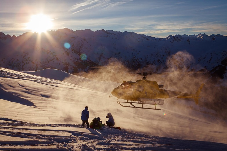 Sunset in Pyrenees Heliski