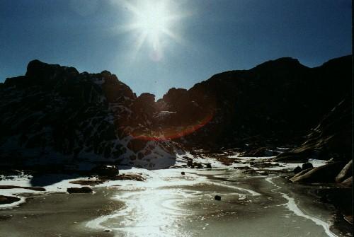 Water froze forming like a frozen lake, Egypt., Jabal Katherina