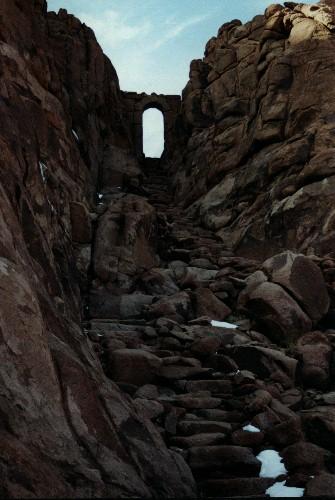 Moses Berg after snow has melt, Egypt., Jabal Katherina