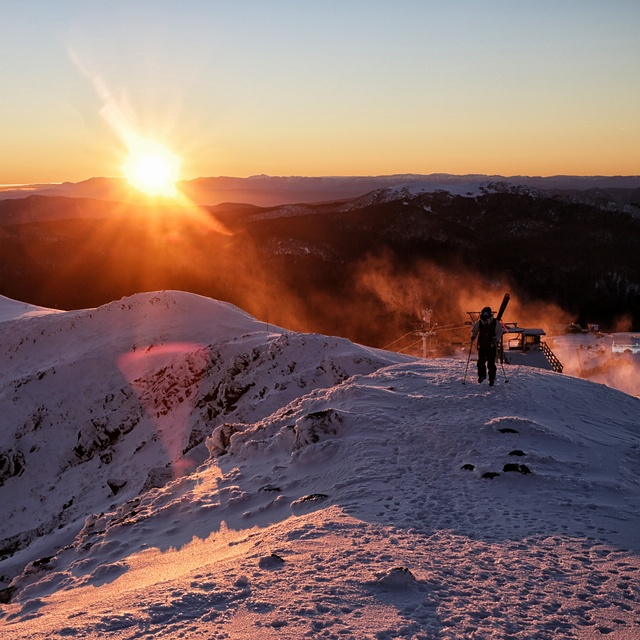 A morning ski in Australia., Mount Buller