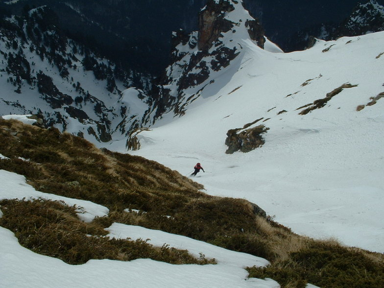 The Goat Couloir, first descent, first tracks, Malyovitsa