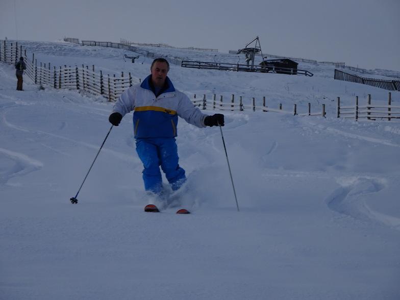 Terry in the powder, Weardale Ski Club