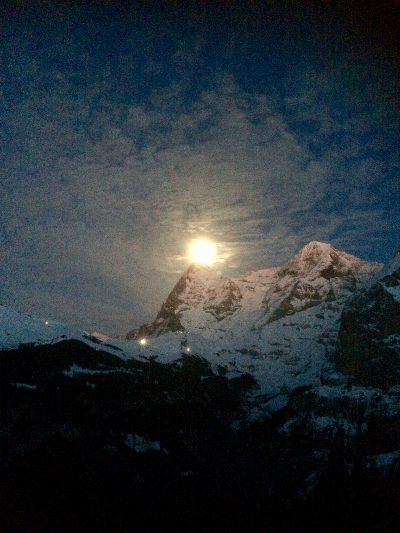 Full moon rises over the Eiger   January 2018, Mürren