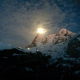 Full moon rises over the Eiger   January 2018, Mürren