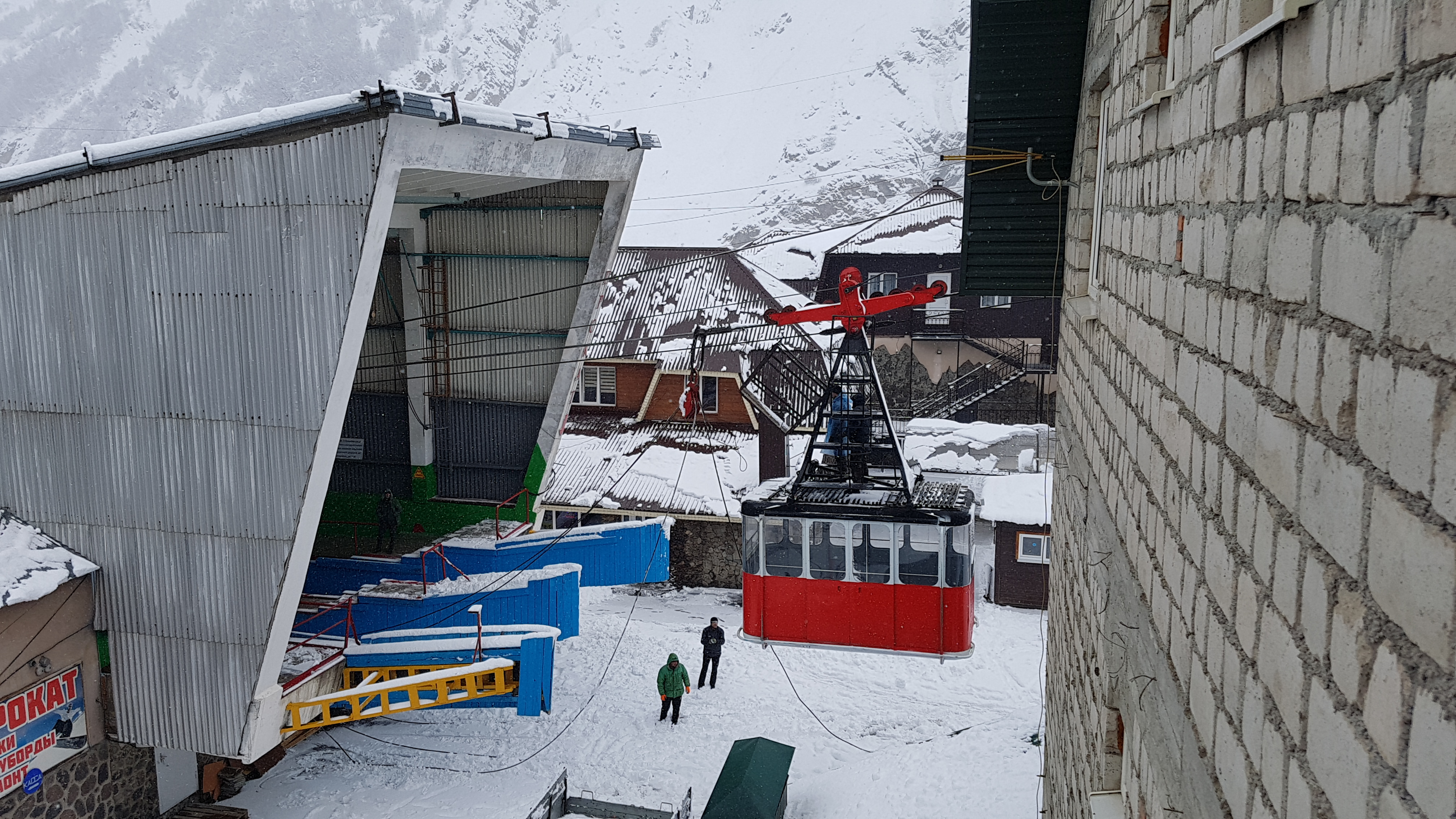 1st cable car of Mt. Elbrus  was stopped for few days., Mt Elbrus