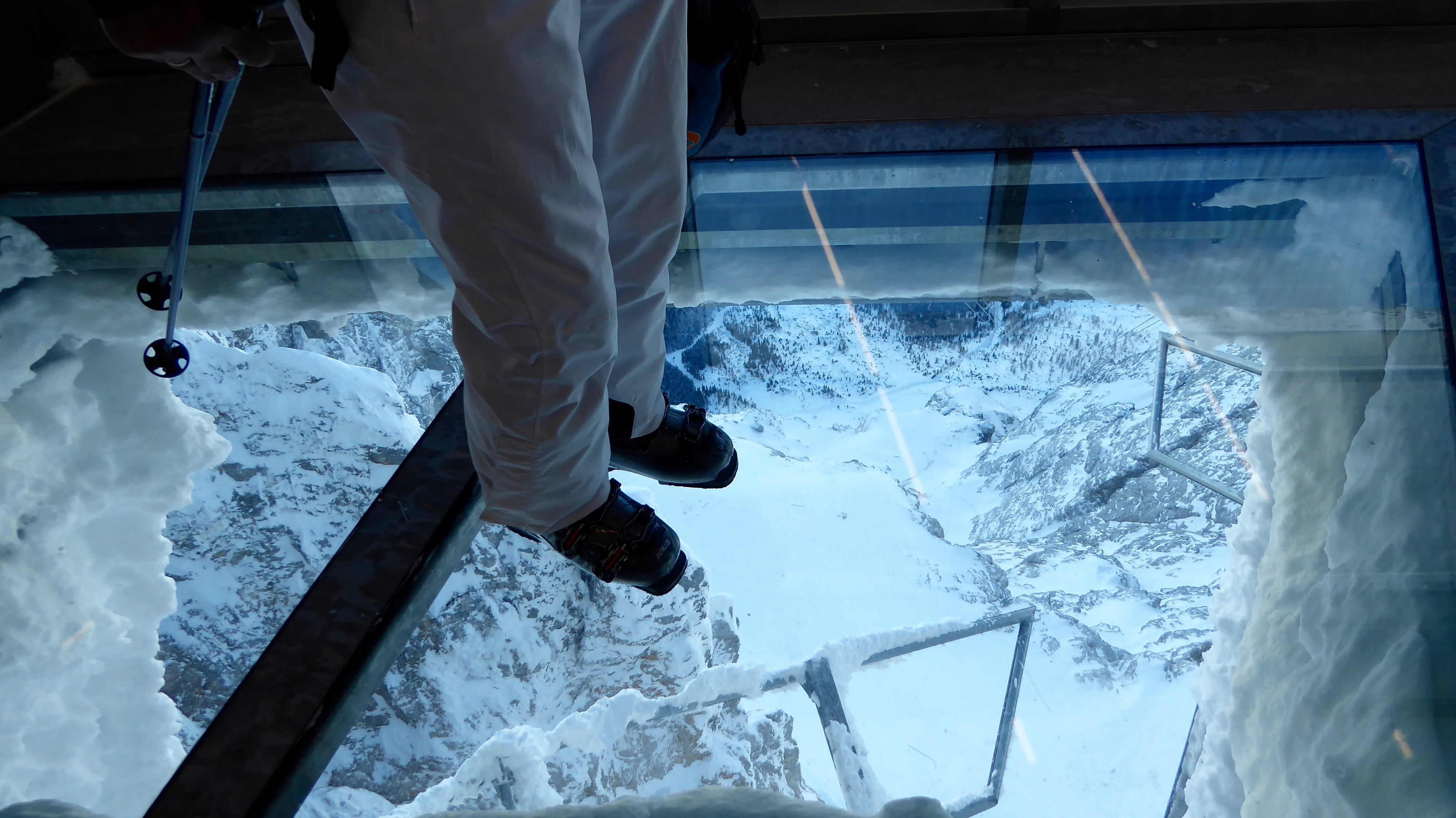 Glass platform  in Zugspitze cable car station, Garmisch-Partenkirchen-Zugspitze