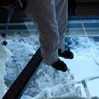 Glass platform  in Zugspitze cable car station, Garmisch-Partenkirchen-Zugspitze