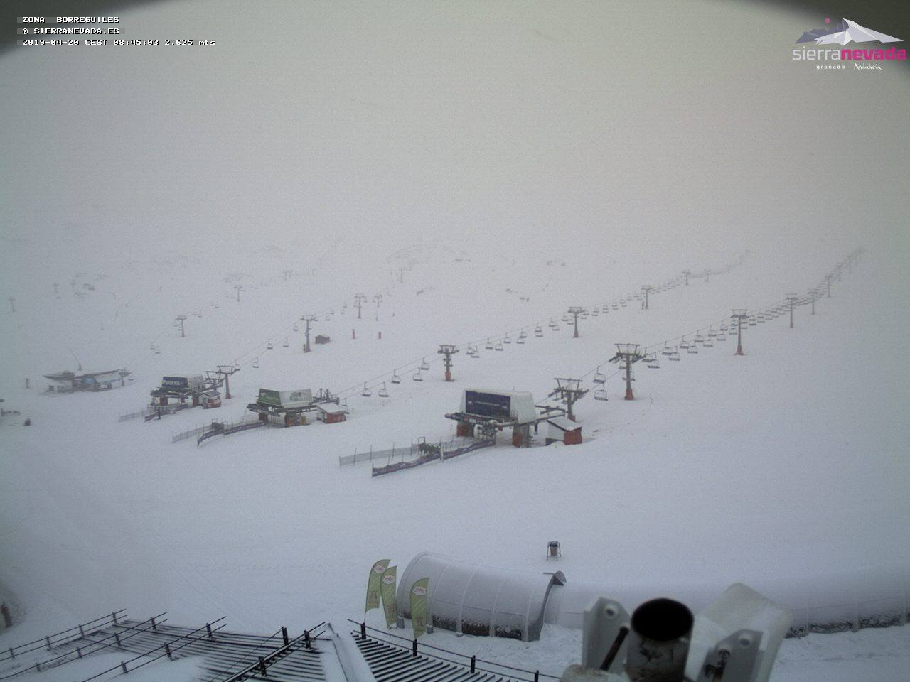 Snow today at Europe's most southerly major ski centre., Sierra Nevada