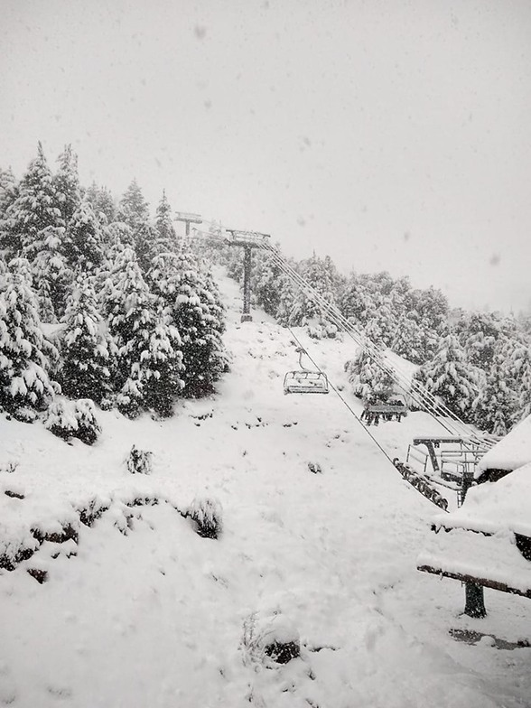 Late season snowfall in Argentina at Cerro Catedral.
