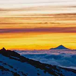Taranaki from Waikato Ski Club, Whakapapa