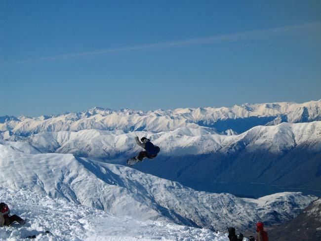Getting air at Treble Cone, NZ