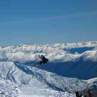 Getting air at Treble Cone, NZ