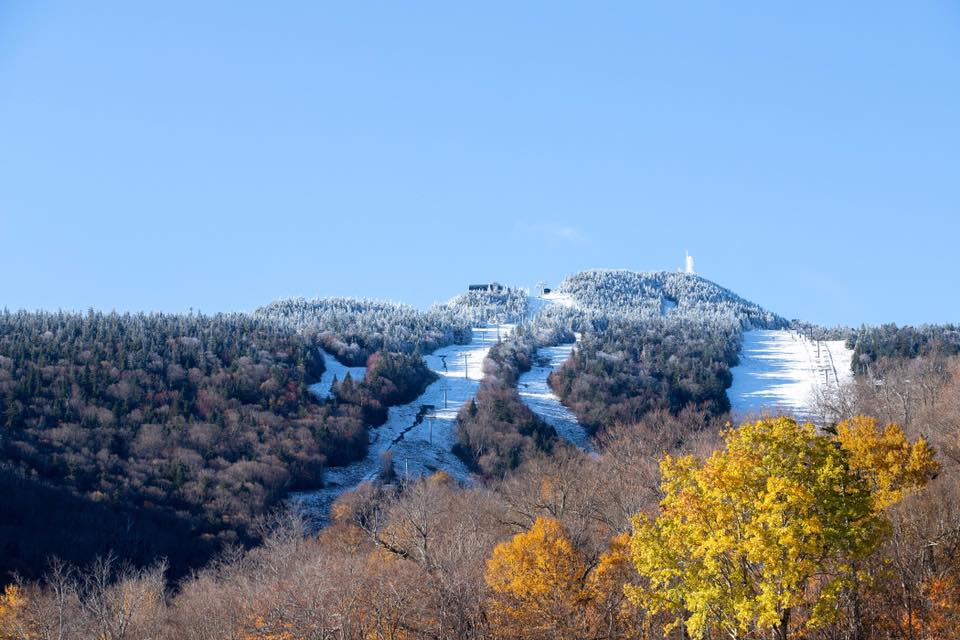 Opening this morning with help from the snow-guns (pic taken a fortnight ago), Killington