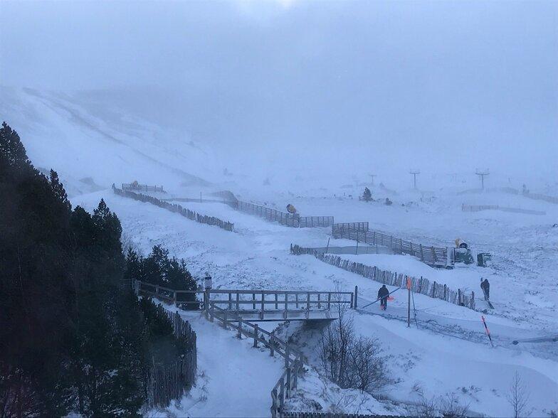 new snow but 75mph wind, Cairngorm