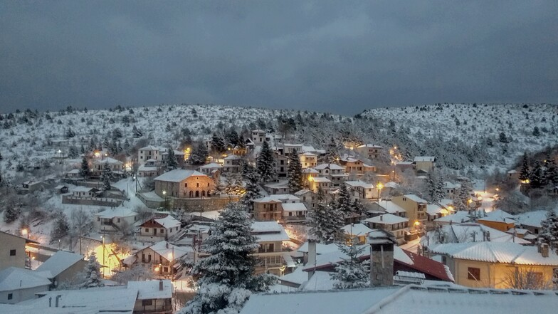 View of the snowy Seli village.