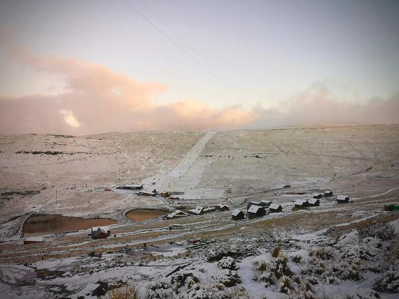 first snow of autumn 2020, Afriski Mountain Resort