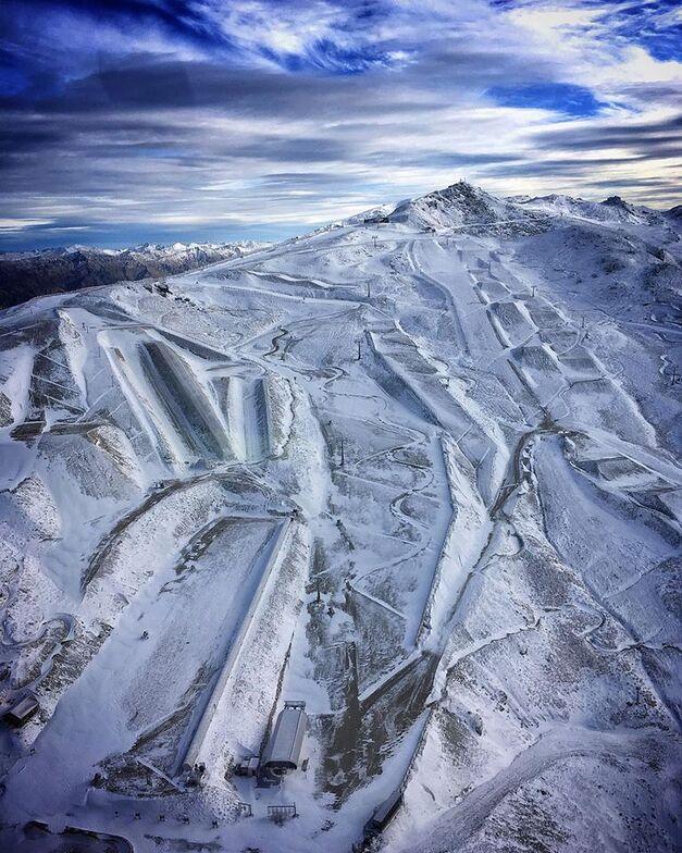 arial shot of ski area, Cardrona