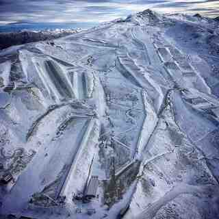 arial shot of ski area, Cardrona