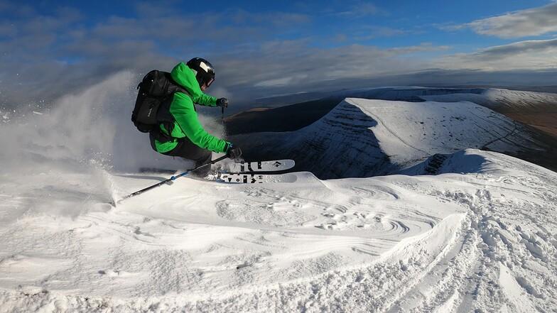 Skiing off the southern side of Pen y Fan, Pen-y-Fan