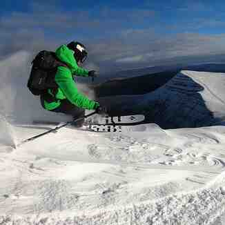 Skiing off the southern side of Pen y Fan, Pen-y-Fan