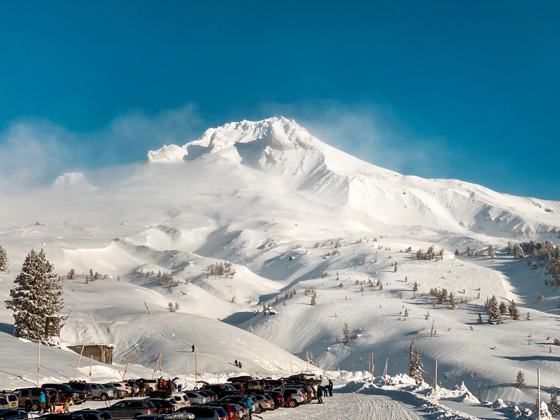 Mt Hood peaks out from the clouds briefly Monday morning, Timberline