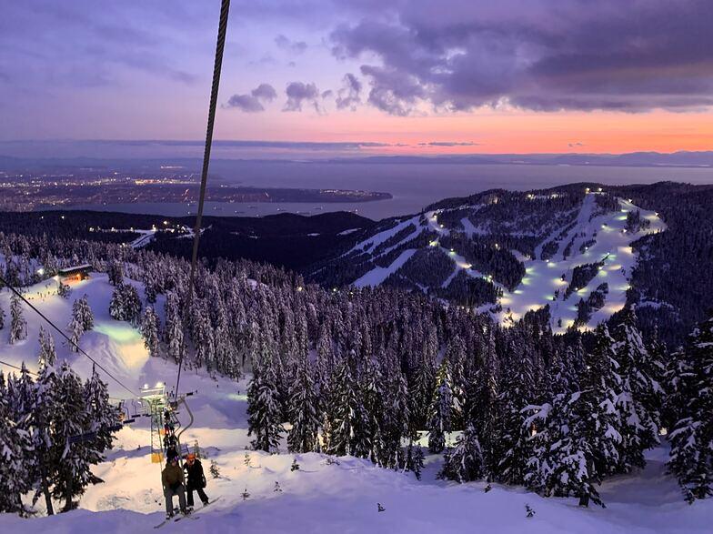 sky chair at dusk, Cypress Mountain