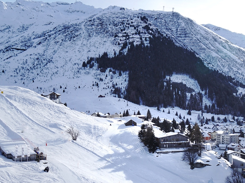view from the lift towards village and Basecamp Andermatt