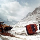 Car accident during a snowstorm, Egypt., Egypt