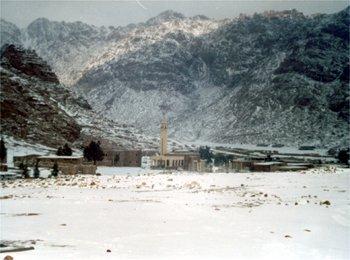 St. Catherine village covered by dense snow, Egypt, Jabal Katherina