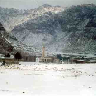 St. Catherine village covered by dense snow, Egypt, Jabal Katherina